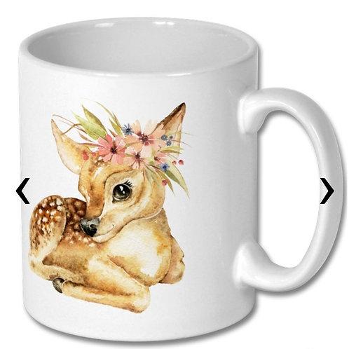 Deer with Flowers_2 Themed Personalised Mug