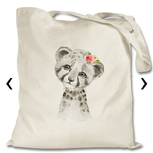 Cheetah Themed Personalised Tote Bag