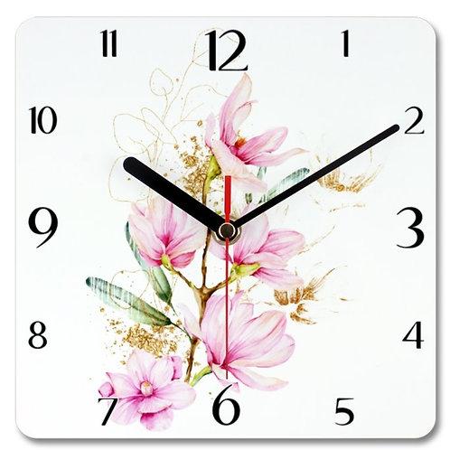 Magnolia_11 Themed Personalised Square Clock