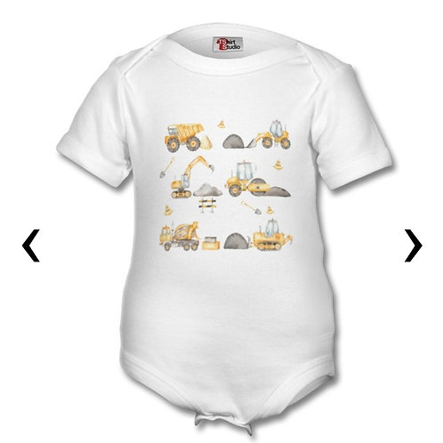 Construction Vehicles Themed Personalised Baby Grows