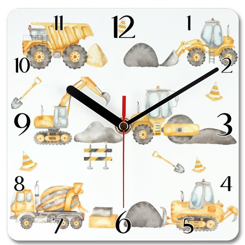 Construction Vehicles Themed Personalised Square Clock
