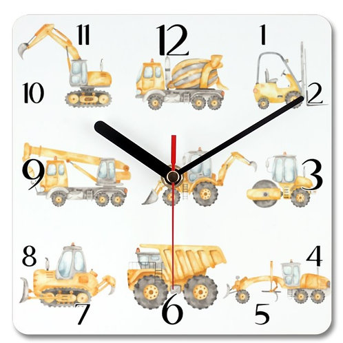 Construction Vehicles_2 Themed Personalised Square Clock
