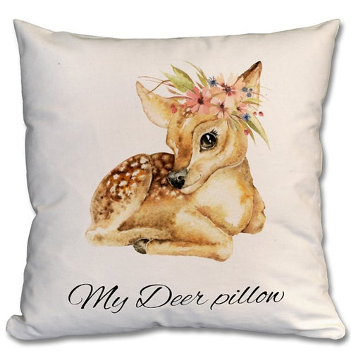Deer with flowers_2 Themed Personalised Cushions