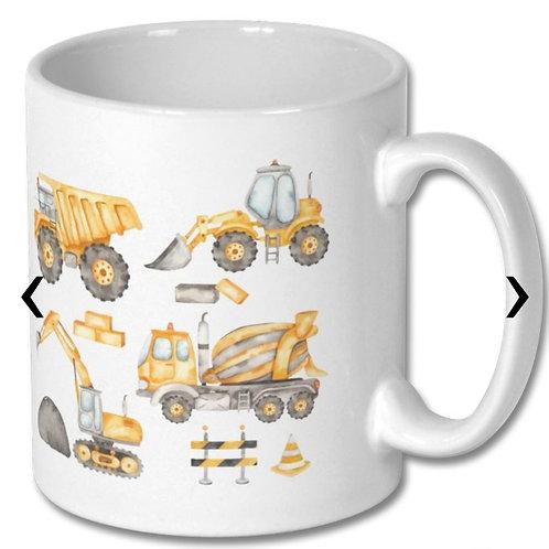 Construction Vehicles_3 Themed Personalised Mug