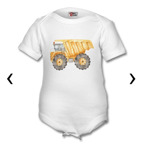 Dump Truck Themed Personalised Baby Grows