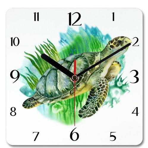 Sea Turtle Themed Personalised Square Clock