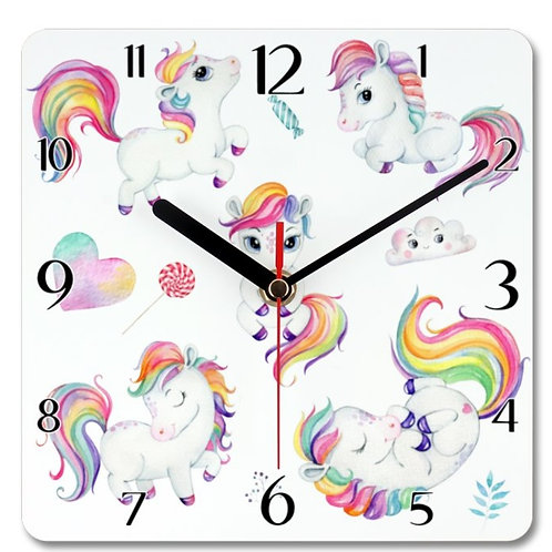 Ponies Themed Personalised Square Clock