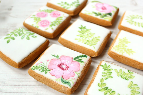 Gluten-free pink watercolour flowers themed Gingerbread Biscuits