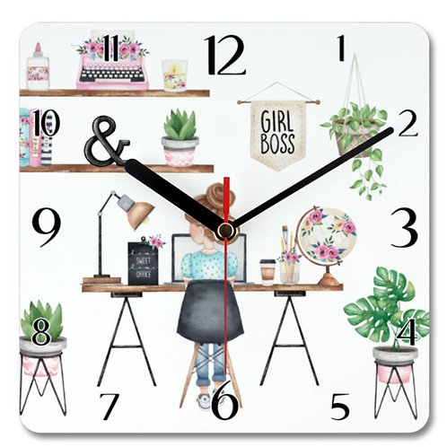 Girl Boss Themed Personalised Square Clock