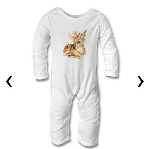 Deer with Flowers_2 Themed Personalised Baby Bodysuit