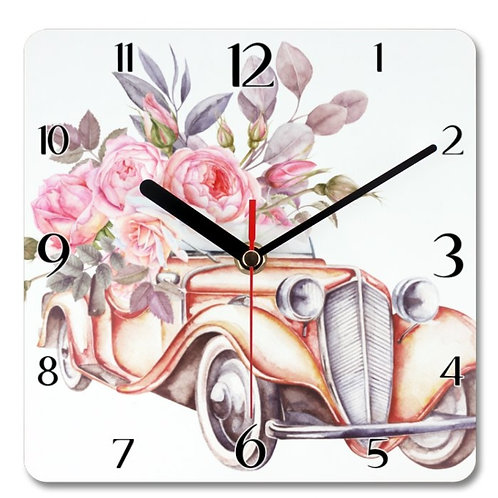 Vintage Car Themed Personalised Square Clock