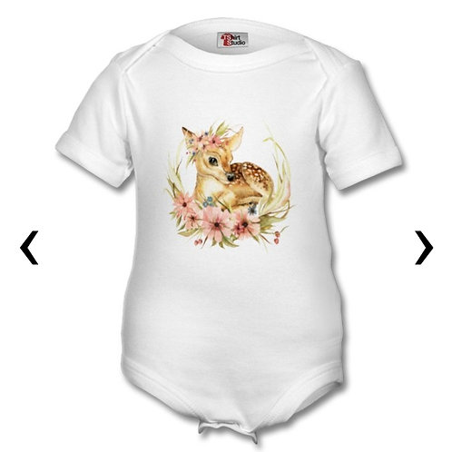 Deer with Flowers Themed Personalised Baby Grows