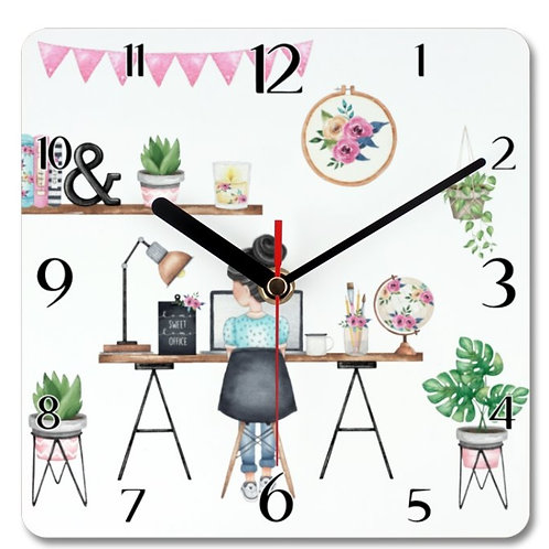 Office Girl Themed Personalised Square Clock