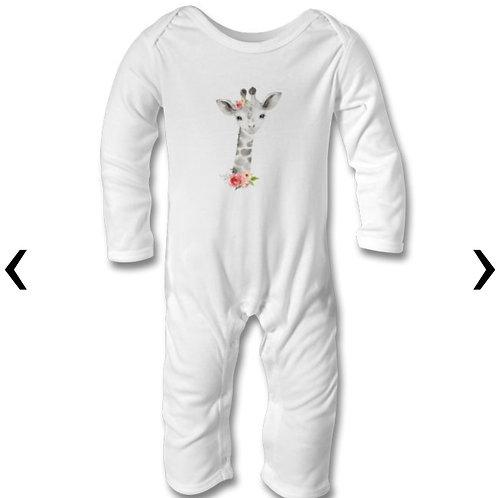 Giraffe Themed Personalised Baby Bodysuit