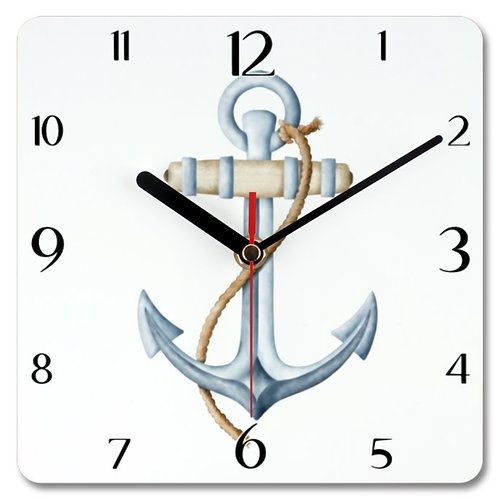 Anchor Themed Personalised Square Clock