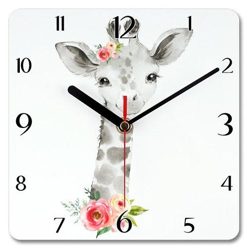 Giraffe Themed Personalised Square Clock