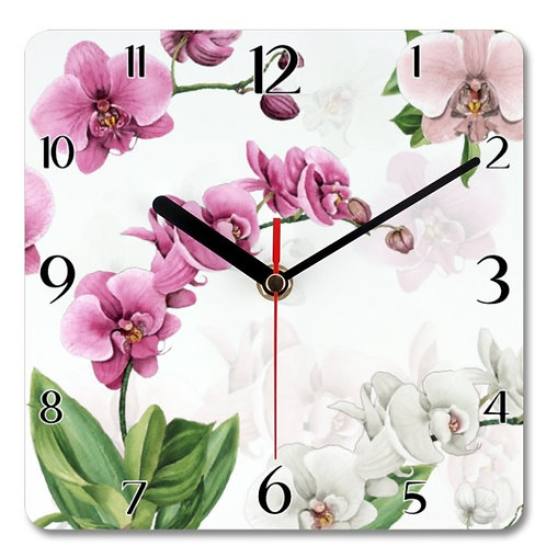 Orchids_3 Themed Personalised Square Clock