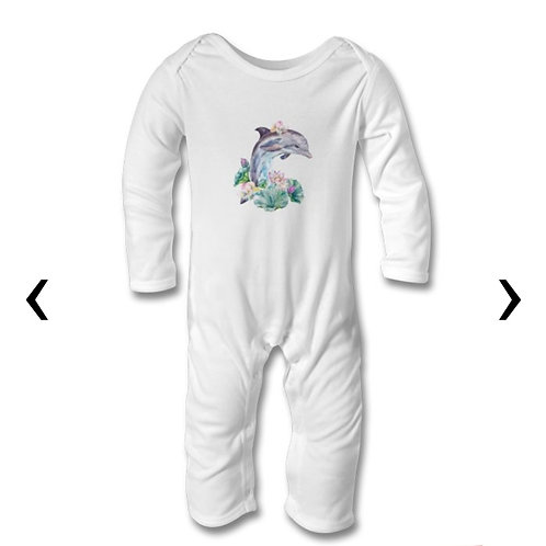 Dolphin Themed Personalised Baby Bodysuit