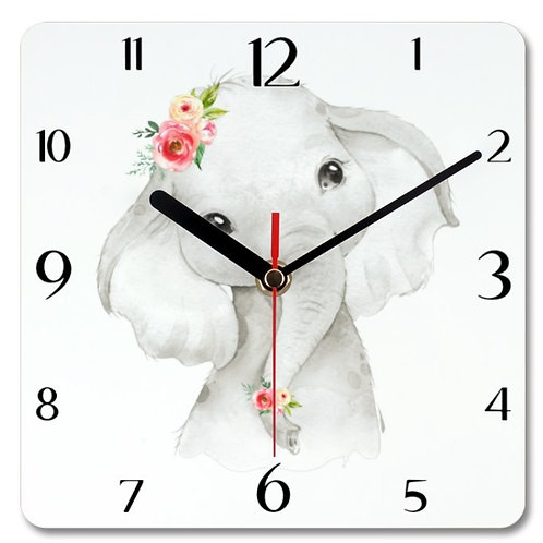 Cute Elephant Themed Personalised Square Clock