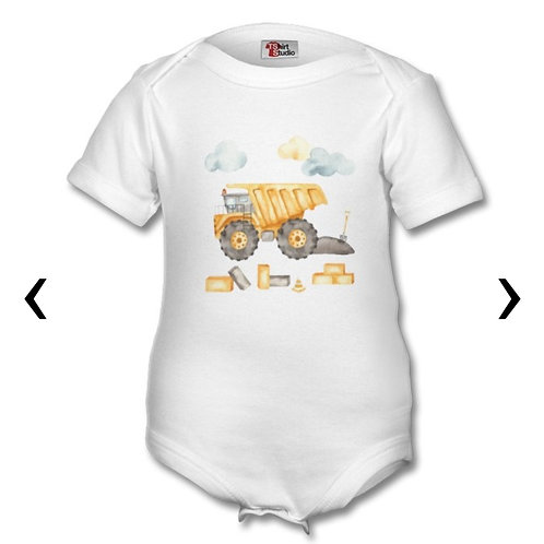 Dump Truck_2 Themed Personalised Baby Grows
