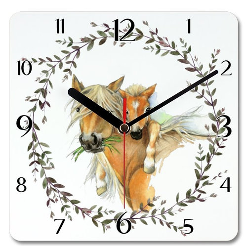 Horses Themed Personalised Square Clock