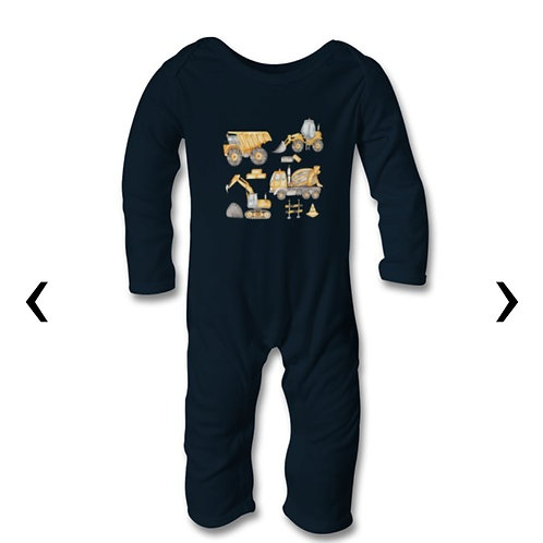 Construction Vehicles_3 Themed Personalised Baby Bodysuit