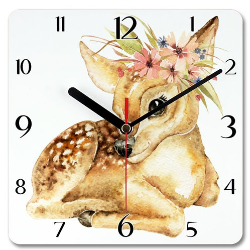 Deer with flower_2 Themed Personalised Square Clock