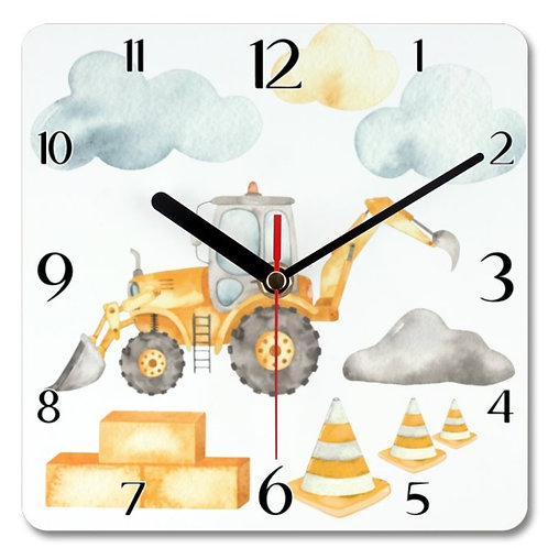 Front and Backhoe Loader Themed Personalised Square Clock