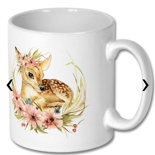 Deer with Flowers and Friendship Message Themed Personalised Mug