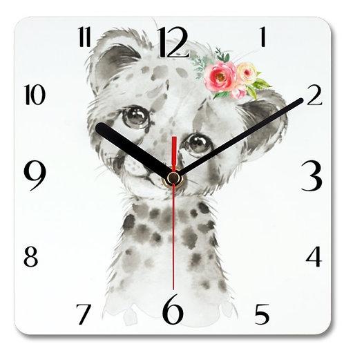 Cheetah Themed Personalised Square Clock