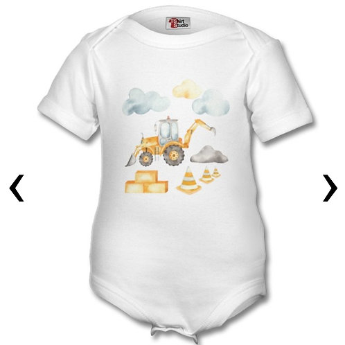 Front and Backhoe Loader Themed Personalised Baby Grows