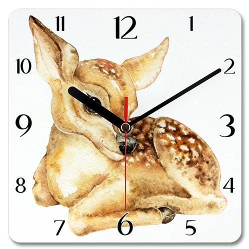 Deer Themed Personalised Square Clock