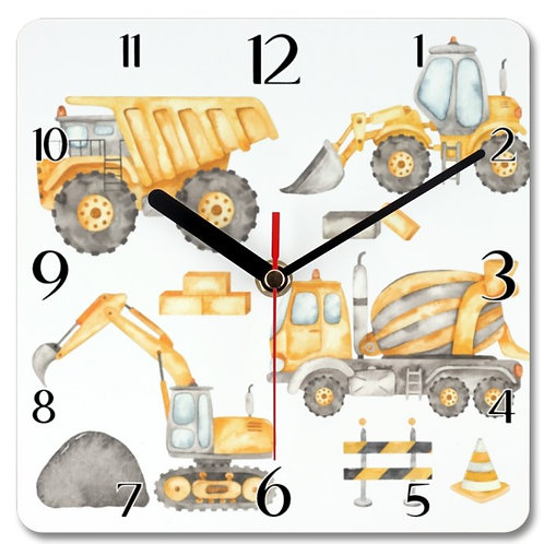 Construction Vehicles_3 Themed Personalised Square Clock