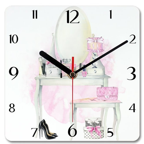 Beauty Themed Personalised Square Clock