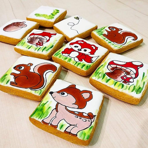 Gluten-free woodland animals themed Gingerbread Biscuits