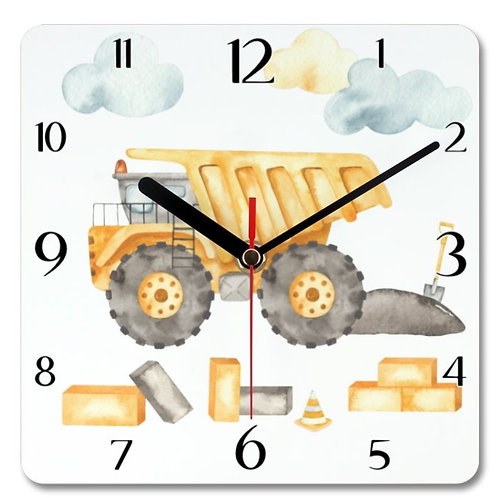 Dump Truck_2 Themed Personalised Square Clock