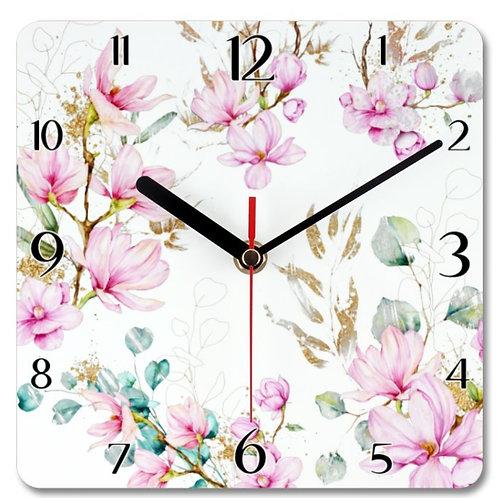 Magnolia Themed Personalised Square Clock