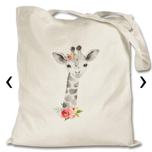 Giraffe Themed Personalised Tote Bag