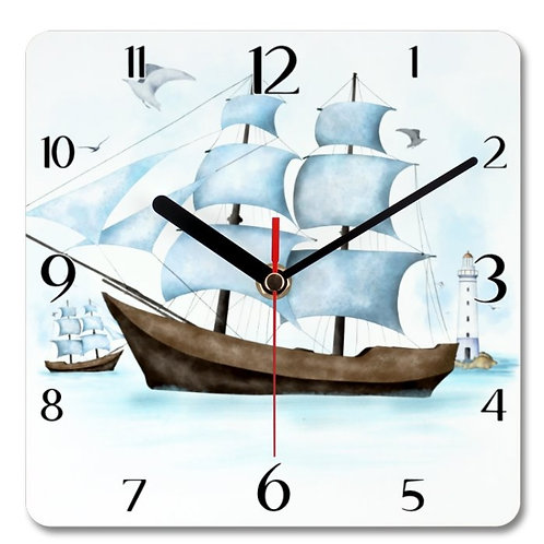 Sailboat Themed Personalised Square Clock