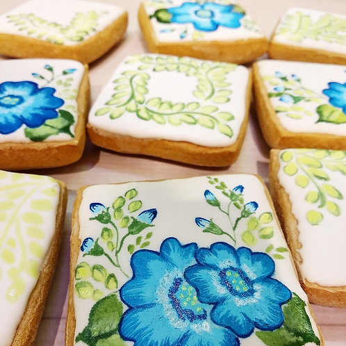 Gluten-free blue watercolour flowers themed Gingerbread Biscuits