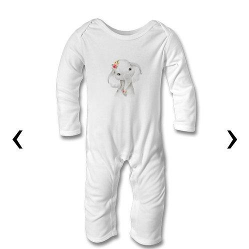 Cute Elephant Themed Personalised Baby Bodysuit
