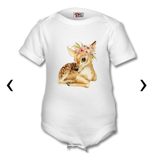 Deer with Flowers_2 Themed Personalised Baby Grows