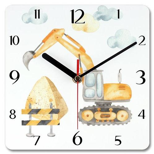 Excavator Themed Personalised Square Clock