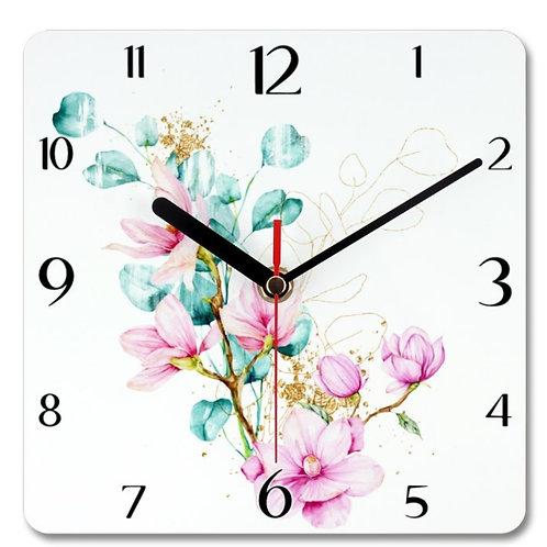 Magnolia_6 Themed Personalised Square Clock