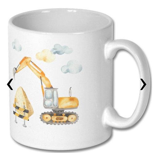 Excavator Themed Personalised Mug