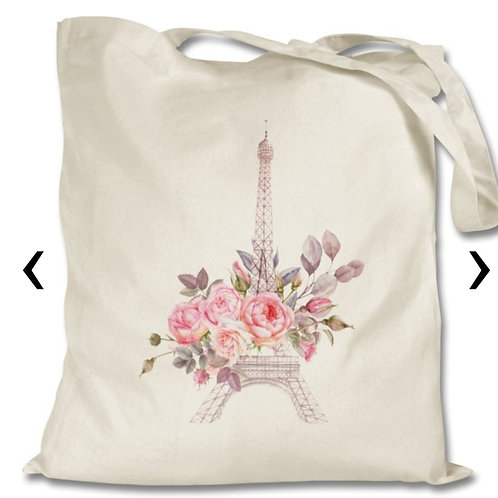 Eiffel Tower Themed Personalised Tote Bag