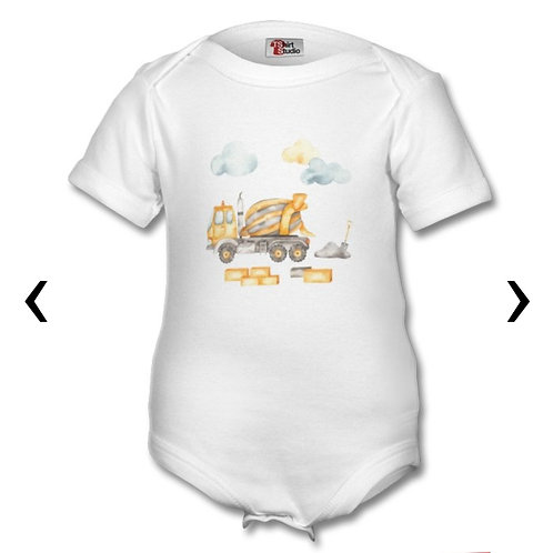 Cement Mixer Themed Personalised Baby Grows