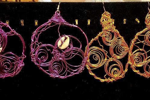 Purple   Gold Mesh Earrings