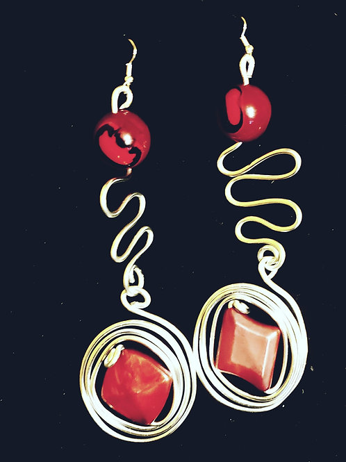Silver and Red Drop Earrings