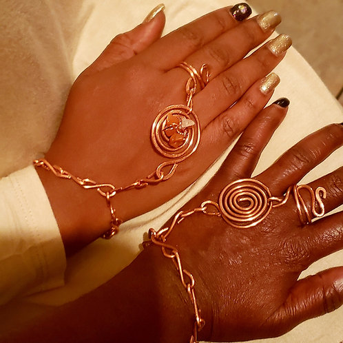 Copper Chain Bracelet and Ring